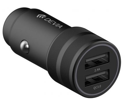 Incarcator Auto USB DEVIA SM7, Quick Charge 3.0, 30W, 2 X USB, Negru, Blister