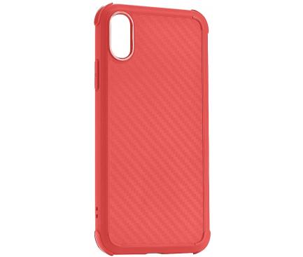 Husa TPU Roar Armor Carbon pentru Apple iPhone X / Apple iPhone XS, Rosie, Blister