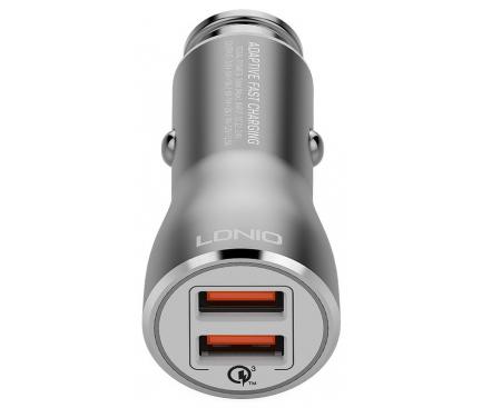 Incarcator Auto cu cablu MicroUSB Ldnio C407Q, Quick Charge 3.0, 2 X USB, Negru, Blister