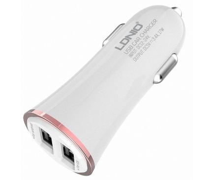 Incarcator Auto cu cablu Lightning Ldnio DL-C28, 3.4A, 2 X USB, Alb, Blister