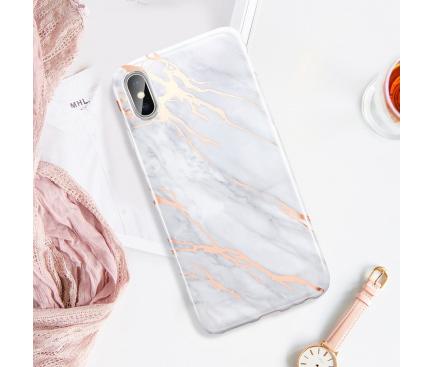 Husa TPU ESR Marble pentru Apple iPhone X / Apple iPhone XS, Aurie - Gri, Blister