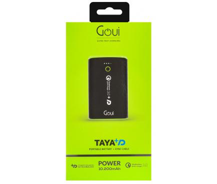 Baterie Externa Powerbank Goui Taya +D, 10200 mA, Power Delivery (PD) 18W + Quick Charge 3.0 18W, 1 x USB Type-C - 1 x USB, Neagra G-EBQ12PD-K