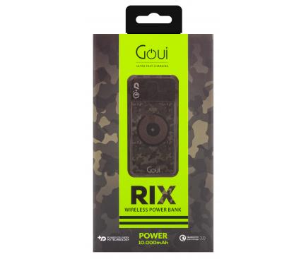 Baterie Externa Powerbank Goui Rix, 10000 mA, Power Delivery (PD) 18W + Quick Charge 3 18W + Fast Wireless 10W, 1 x USB Type-C - 1 X USB - Wireless, Neagra G-EBW10000-CAM