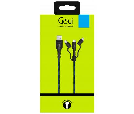 Cablu Date si Incarcare USB la Lightning - USB la MicroUSB - USB la USB Type-C Goui Tough, 1.5 m, Bleumarin - Negru, Blister G-3IN1-15M