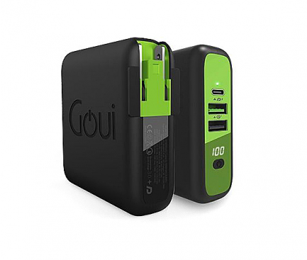 Baterie Externa Powerbank Goui Mbala, 8000 mA, Power Delivery (PD) 18W + Quick Charge 3 18W + Fast Wireless 10W, Afisaj Led, 1 x USB Type-C - 2 x USB - Wireless, Neagra G-KITWIRELESS