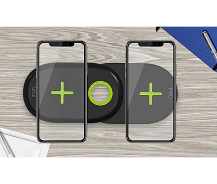 Incarcator Retea Wireless Goui Dual Ultra Charging Pad QI, Fast Wireless, 20W, Negru, Blister G-2WIRELESS20W