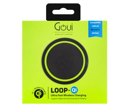 Incarcator Retea Wireless Goui Loop QI, Fast Wireless, 15W, Negru, Blister G-WC10WQI-K