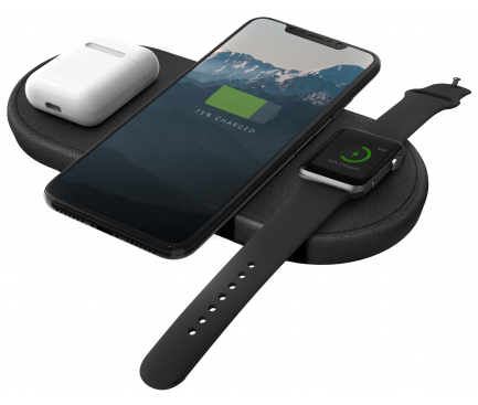 Incarcator Retea Wireless pentru Apple iPhone / Watch / Airpods UNIQ Aereo Fast Charging, Negru, Blister