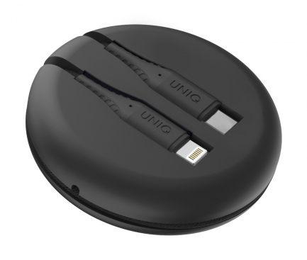 Cablu Date si Incarcare USB Type-C la Lightning UNIQ Halo, 18W, Cu Organizator, 1.2 m, Negru, Blister