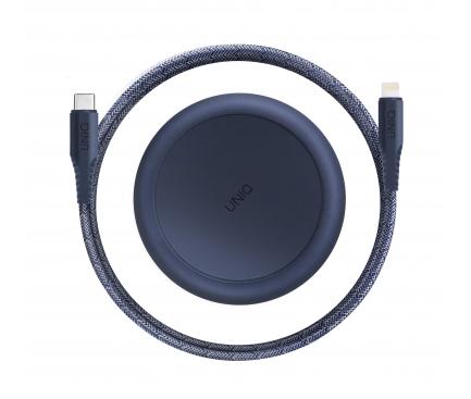 Cablu Date si Incarcare USB Type-C la Lightning UNIQ Halo, 18W, Cu Organizator, 1.2 m, Albastru, Blister