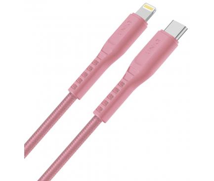 Cablu Date si Incarcare USB Type-C la Lightning UNIQ Flex, 3A, 1.2 m, Roz, Blister