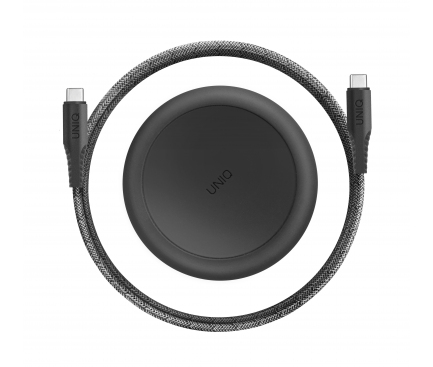 Cablu Date si Incarcare USB Type-C la USB Type-C UNIQ Halo, 3A, Cu organizator, 1.2 m, Negru, Blister