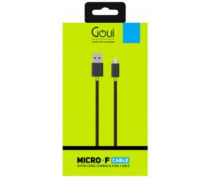 Cablu Date si Incarcare USB la MicroUSB Goui Flat, 1.5 m, Negru, Blister G-MICROFALT-K