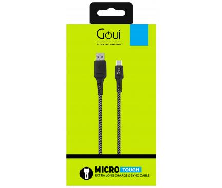 Cablu Date si Incarcare USB la Micro USB  Goui Tough, 1.5 m, Gri - Negru, Blister G-MC15-GB