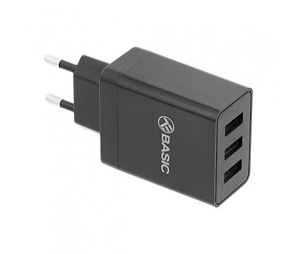 Incarcator Retea USB Tellur HC302, 4.8A, 3 x USB, Negru, Blister TLL151211