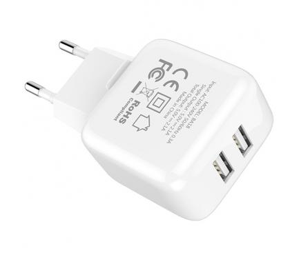 Incarcator Retea USB Borofone BA18, Smart ID, 2.1A, 2 X USB, Alb, Blister