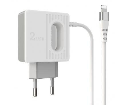 Incarcator Retea cu fir Lightning Borofone BA34 Jei, Led, 2.4A, 2 X USB, Alb, Blister