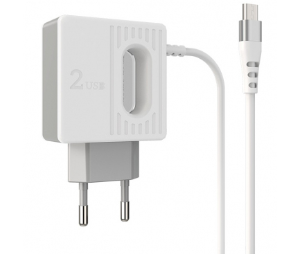 Incarcator Retea cu fir MicroUSB Borofone BA34 Jei, Led, 2.4A, 2 X USB, Alb, Blister