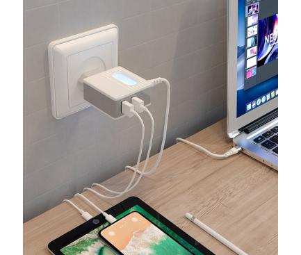 Incarcator Retea cu fir USB Tip-C Borofone BA34 Jei, Led, 2.4A, 2 X USB, Alb, Blister