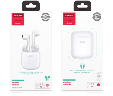 Handsfree Casca Bluetooth Joyroom JR-T04s, SinglePoint, Alb, Blister