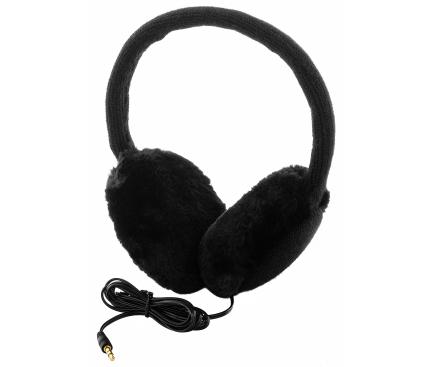 Casti On-Ear Vodafone Warm Winter Earmuff, Material calduros, 3.5 mm, Negru, Blister VFEMUBLK