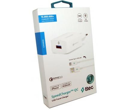 Incarcator Retea cu cablu USB Tip-C TTEC SpeedCharge, QC 3.0, 18W, 1 X USB, Alb, Blister 2SCQC01C