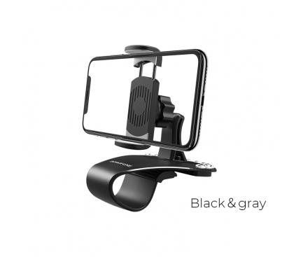 Suport Auto pentru telefon Borofone BH16, cu Stickere Numar, Negru, Blister