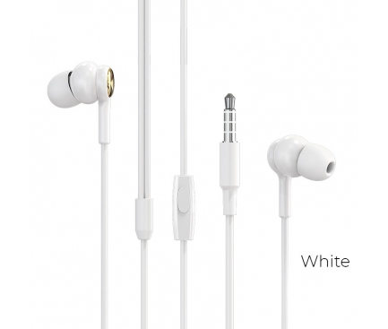 Handsfree Casti In-Ear Borofone Complacent BM33, Cu microfon, 3.5 mm, Alb, Blister