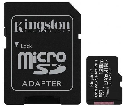 Card Memorie MicroSDXC Kingston Canvas Select Plus Android A1, cu adaptor, 128Gb, Clasa 10 - UHS-1 U1, Blister SDCS2/128GB