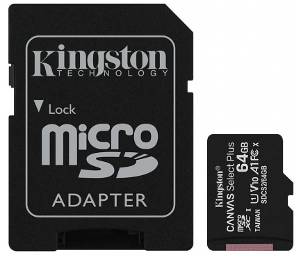 Card Memorie MicroSDXC Kingston Canvas Select Plus Android A1, cu adaptor, 64Gb, Clasa 10 - UHS-1 U1, Blister SDCS2/64GB