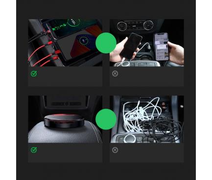 Statie de incarcare auto USB Baseus CAHUB-FX01, 1 x USB Type-C - 2 x USB, 3A, Negru, Blister