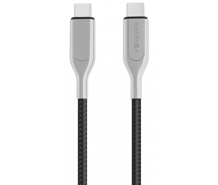 Cablu Date si Incarcare USB Type-C la USB Type-C Forever Core UltraFast, PD 60W, 1.5 m, Negru - Argintiu, Blister