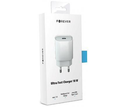 Incarcator Retea USB Forever Core 18W, 1 X USB Tip-C, Alb, Blister