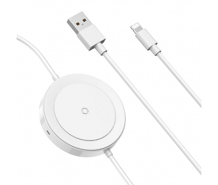 Incarcator Retea Wireless Baseus cu cablu USB Lightning 1.2 m, Alb, Blister WXCA-01/BSWC-P10