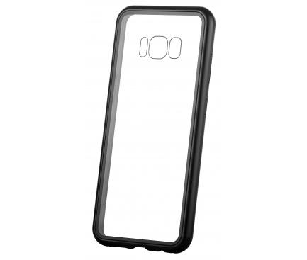 Husa Aluminiu OEM Magnetic Frame Hybrid cu spate din sticla pentru Huawei P Smart (2019), Neagra, Bulk
