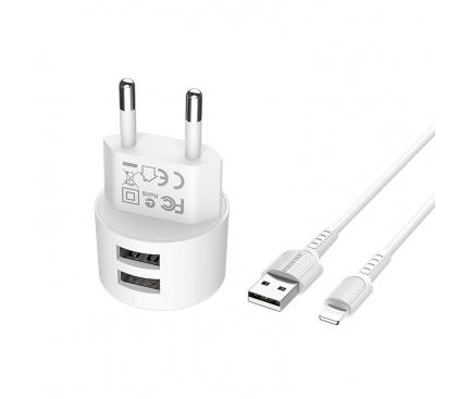 Incarcator Retea cu cablu Lightning Borofone Dual Port BA23A, 2.4A, 2 X USB, Alb, Blister