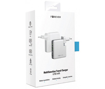Baterie Externa Powerbank Forever Core Travel, 6700 mA, 1 X USB Tip-C - 2 X USB - Wireless, Afisaj Led, Alb, Blister
