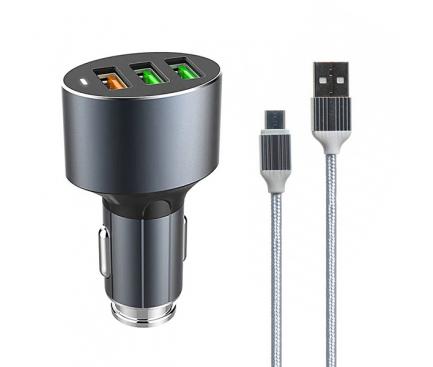 Incarcator Auto cu cablu MicroUSB Ldnio C703Q, QC 3.0, 36W, 3 x USB, Negru, Blister
