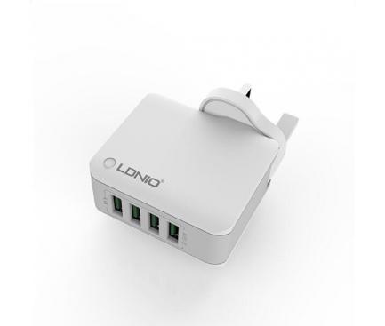 Incarcator Retea USB Ldnio A4403, 4.4A, 4 x USB, Alb, Blister