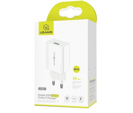Incarcator Retea USB Usams T22, Quick Charge 3, 18W, Alb, Blister CC83TC01