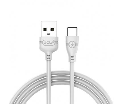 Cablu Date si Incarcare USB la USB Type-C Golf GC-63t, 2A, 1 m, Alb, Blister