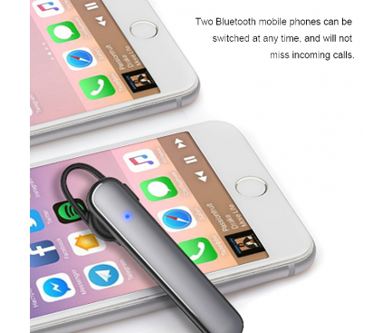 Handsfree Casca Bluetooth WiWu Solo Tube, Suport Apel/ Smart Sleep / Music Playback, Negru, Blister