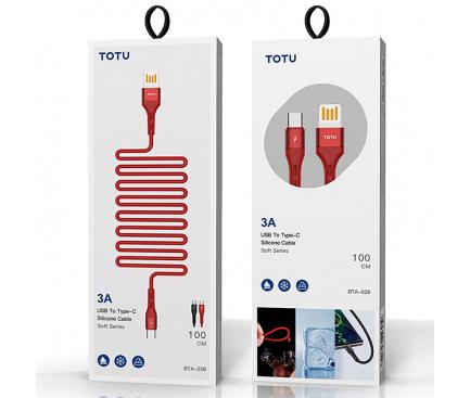 Cablu Date si Incarcare USB la USB Type-C Totu Design BTA-028, Soft Series, 3A, 1 m, Negru, Blister