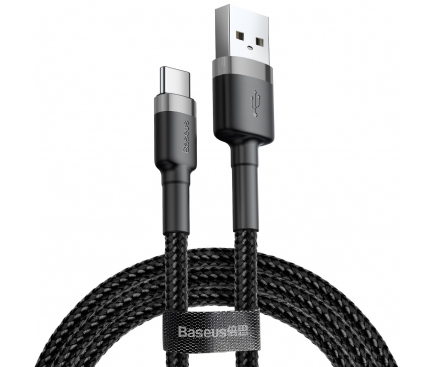 Cablu Date si Incarcare USB la USB Type-C Baseus Cafule, 3A, 1 m, Gri - Negru, Blister CATKLF-BG1