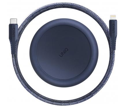 Cablu Date si Incarcare USB la USB Type-C UNIQ Halo, 3A, Cu Organizator, 1.2 m, Bleumarin, Blister