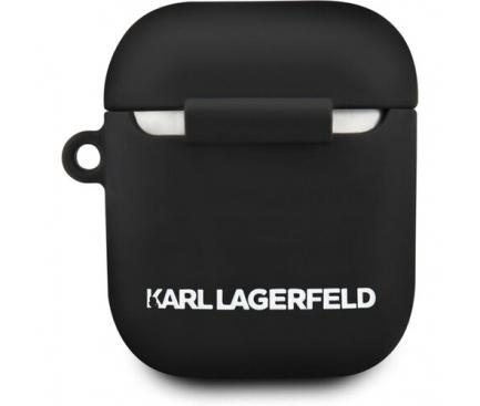 Husa TPU Karl Lagerfeld pentru Apple Airpods Gen 1 / Gen 2, Neagra, Blister KLACCSILKHBK