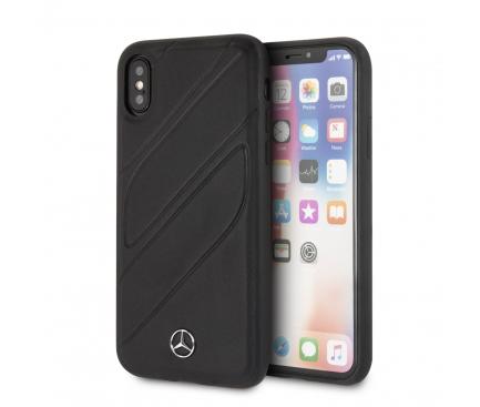 Husa Piele MERCEDES pentru Apple iPhone X / Apple iPhone XS, Hard Cover New Organic, Neagra, Blister MEHCPXTHLBK