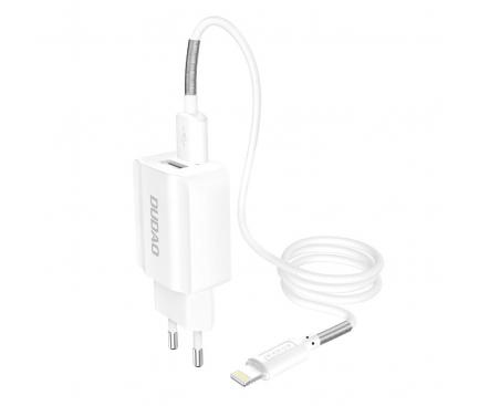 Incarcator Retea cu cablu Lightning Dudao A2EU, 2.4A, 2 X USB, Alb, Blister
