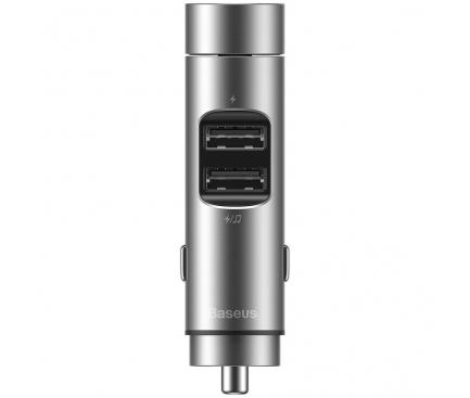 Modulator FM Bluetooth Baseus Energy Column, Mp3 Player, Buton de apel, 2 x USB, Argintiu CCNLZ-0S