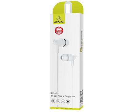 Handsfree Casti In-Ear Usams EP-37 Electroplating, Cu microfon, 3.5 mm, Alb, Blister HSEP3702